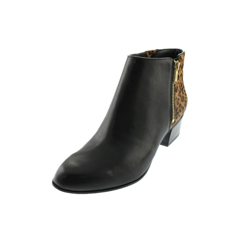 Naturalizer Womens Tanya Calf Hair Leopard Print Ankle Boots