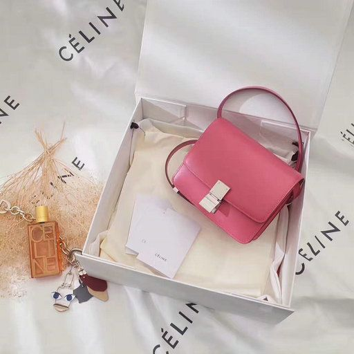 6b8cda86842e 2017 Celine Mini Classic Box Bag in Pink Leather