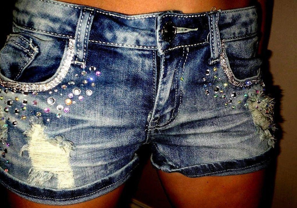 Bling + Distressed Denim Shorts!