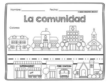 La Comunidad Hojas De Trabajos Community Spanish Worksheet Sensory Bins Social Studies Education
