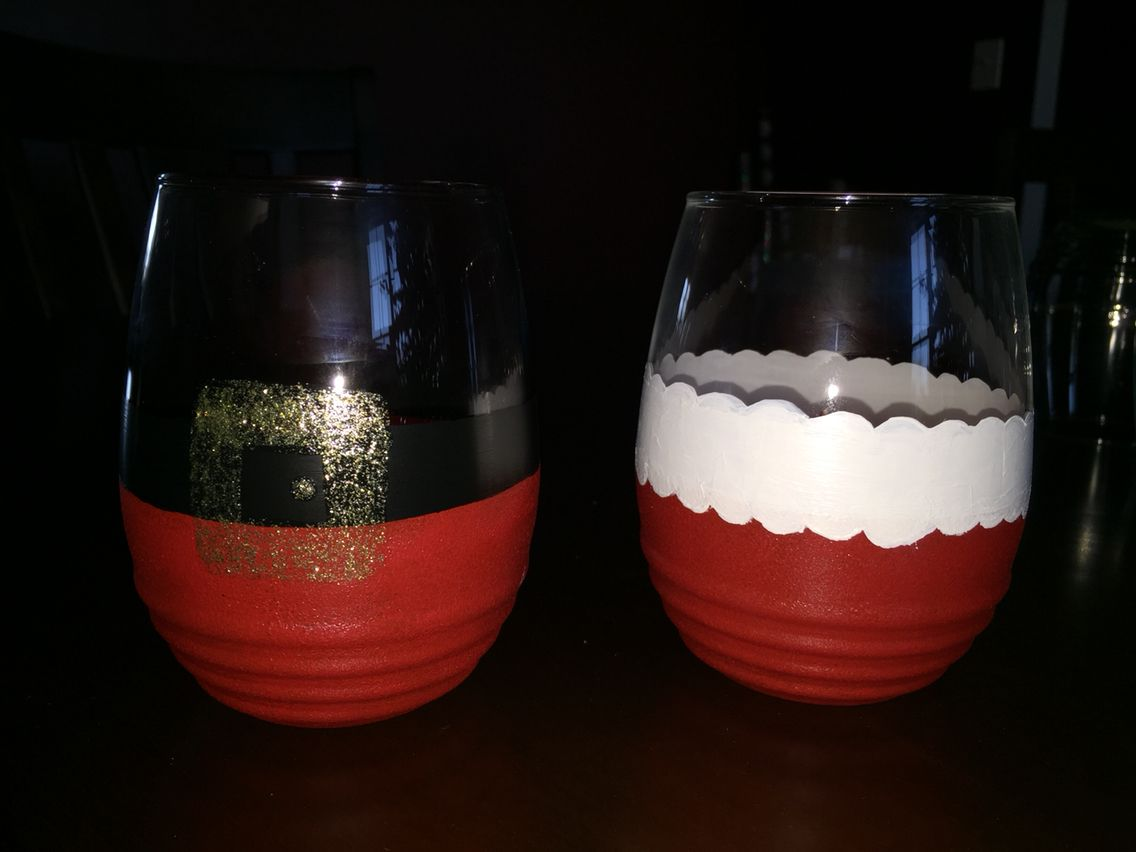 Mr Mrs Clause Themed Stemless Wine Glasses Stemless Wine Glass Glassware Stemless Wine Glasses