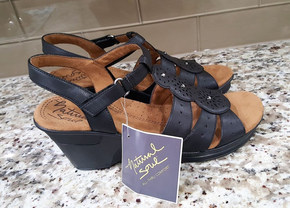 Women s Natural Soul RYNDA F4854S0002 Black Smooth Heeled Sandal Shoes 10M   NaturalSoul  HeeledSandal  Casual f596a8757
