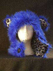 Long Blue w/ Snow Leopard Print Reversible Bear Hood