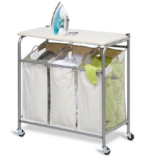 Laundry Hamper Ironing Board Clothes Sorter Combo Press Fold Three Bin Organizer Honeycando