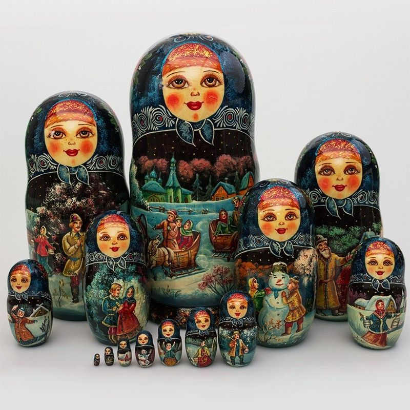 Beautiful Girls Russian Nesting Doll Matryoshka Doll Ornaments Set of 10 pcs