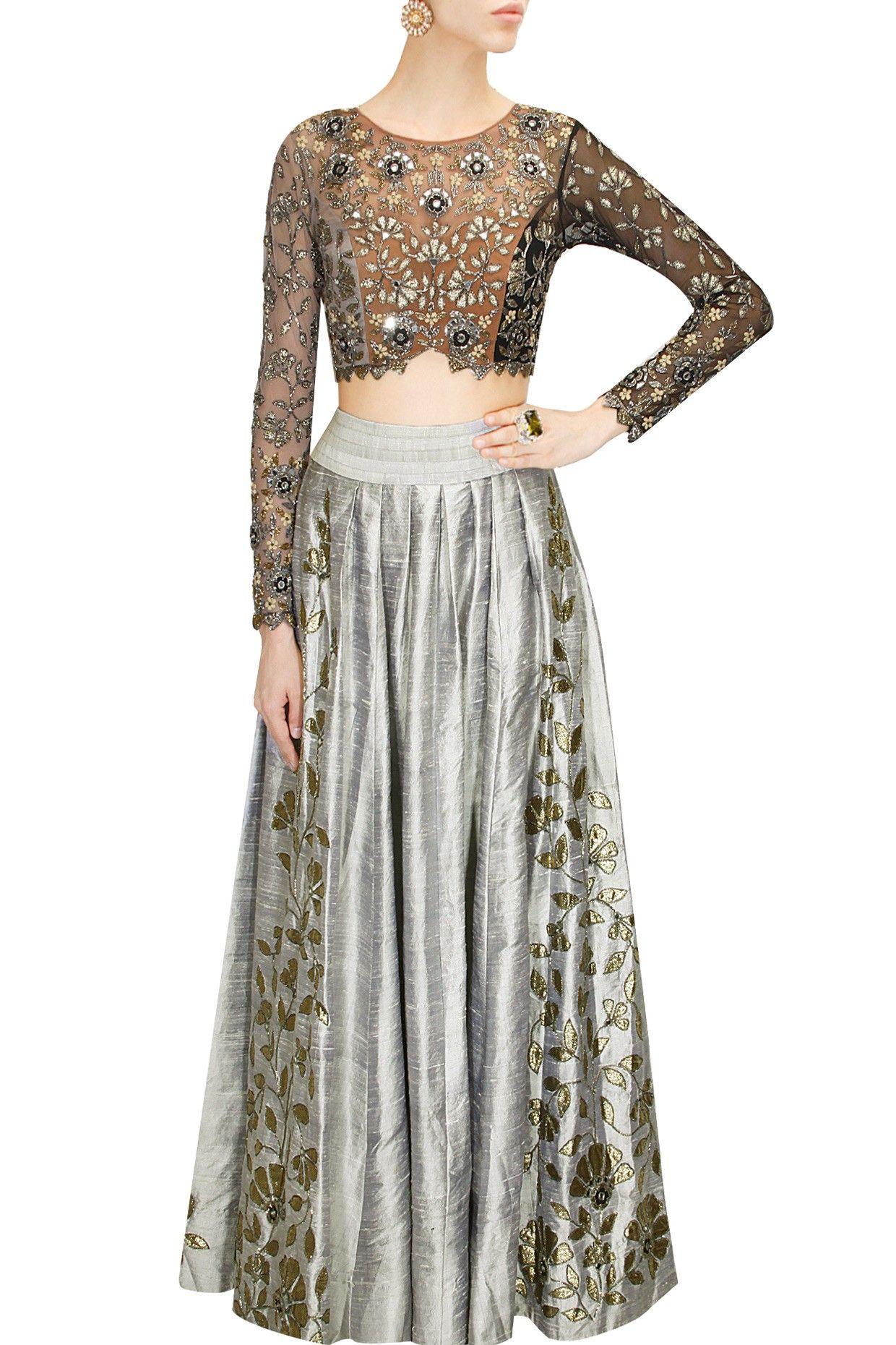 Grey foil work skirt with shaded embroidered blouse By Arpita ...