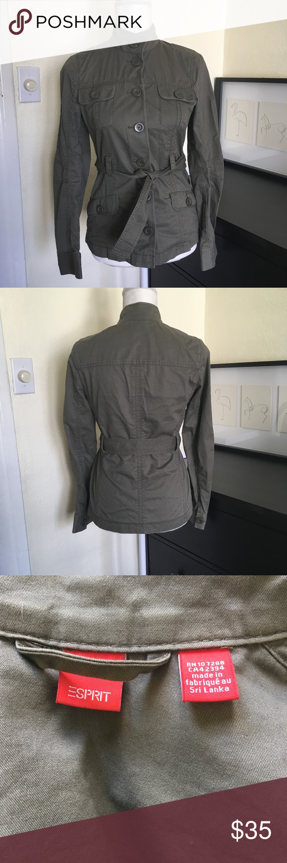 Esprit Army Style Jacket Nwot Army Fashion Clothes Design Jackets [ 1740 x 580 Pixel ]