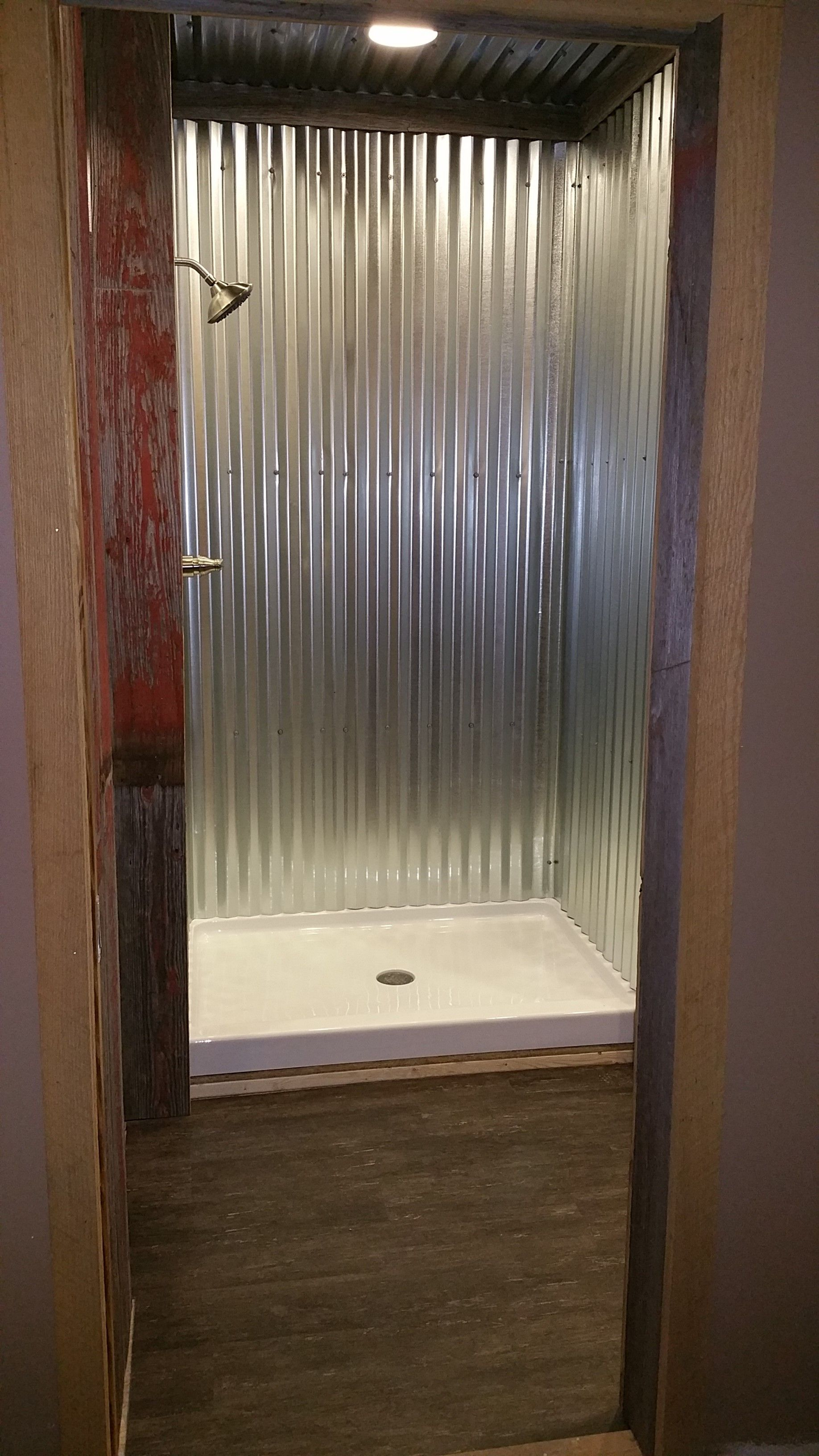 galvanized steel shower tiny bathroomsrustic