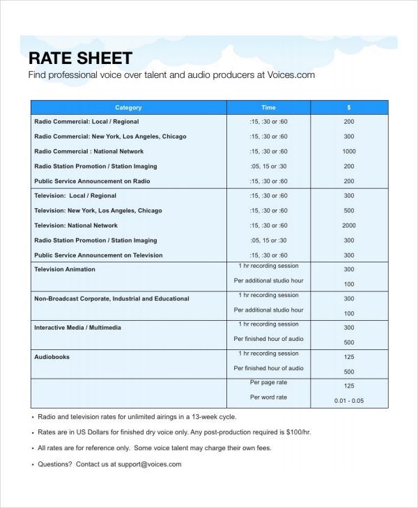 Rate Sheet Templates  Free Printable Word Excel  Pdf