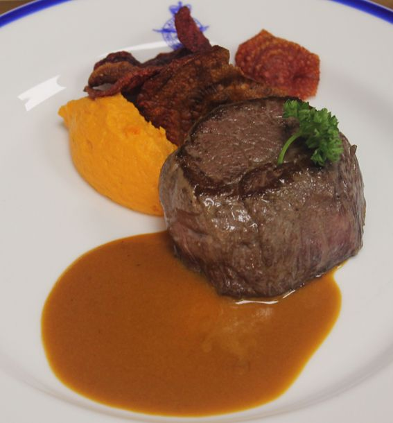 Wine Tasting Dinner with a Grazing Menu. Fillet of Beef with Calvados Cream Carrot puree and beetroot crisps.