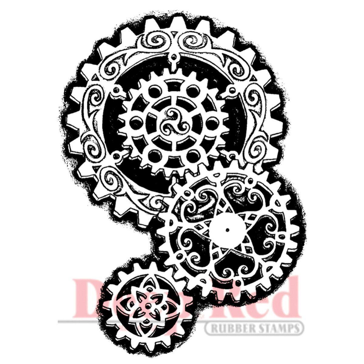 Deep Red Stamp - Steampunk Gears