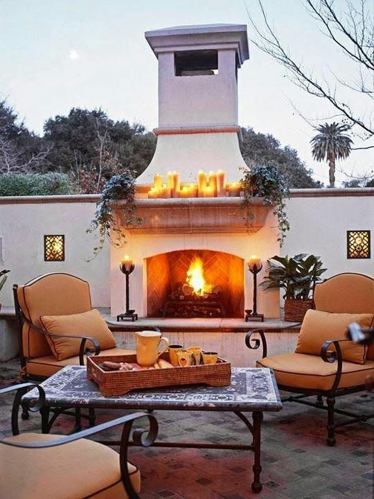 Wondrous Beautiful Backyard Fireplace Outdoor Living With Home Remodeling Inspirations Genioncuboardxyz