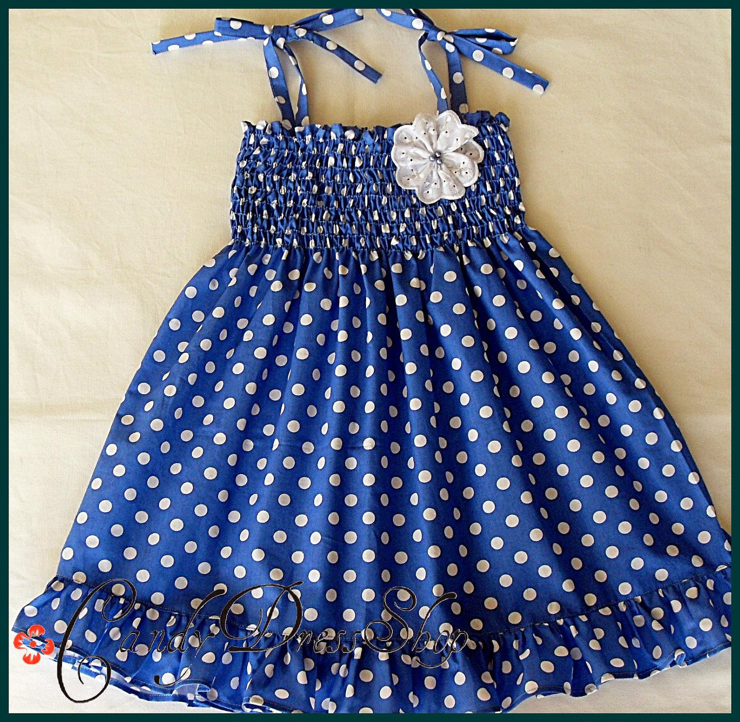 Blue and white polka dot dress girls frilly dress Girls blue white