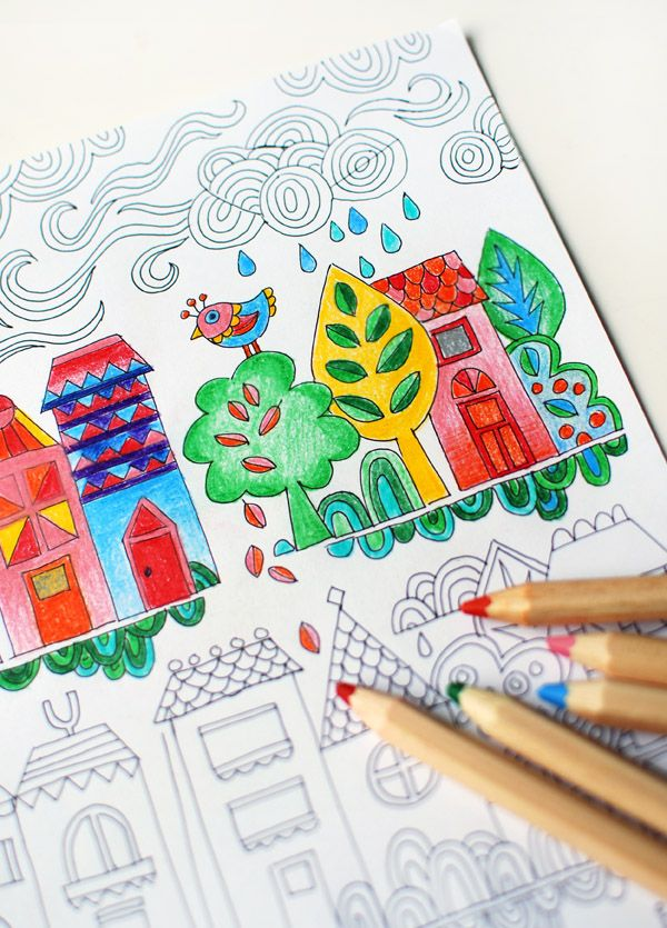 Free colouring poster tiny town free printable adult coloring and craft things