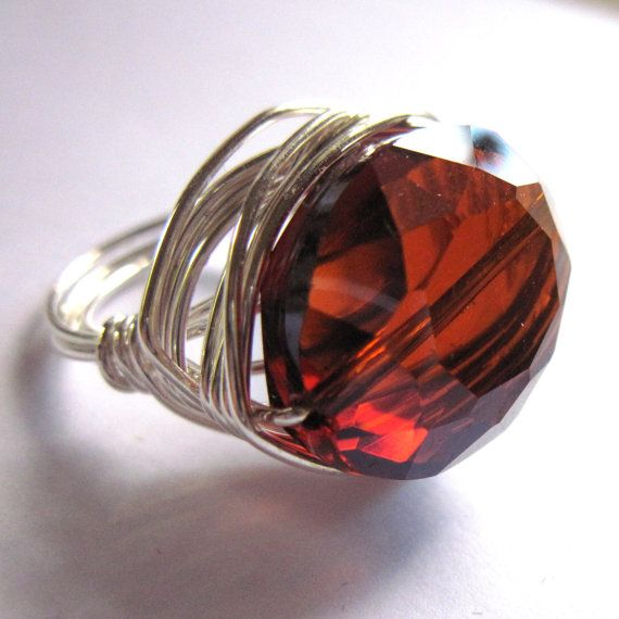Wire Wrap Ring Amber Glass Women Fashion Jewelry by gimmethatthing, £9.75