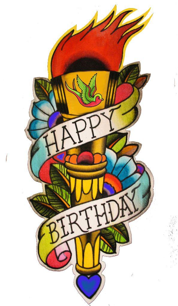 Happy Birthday Tattoo Card Happy Birthday Tattoo Happy Birthday Drawings Birthday Tattoo