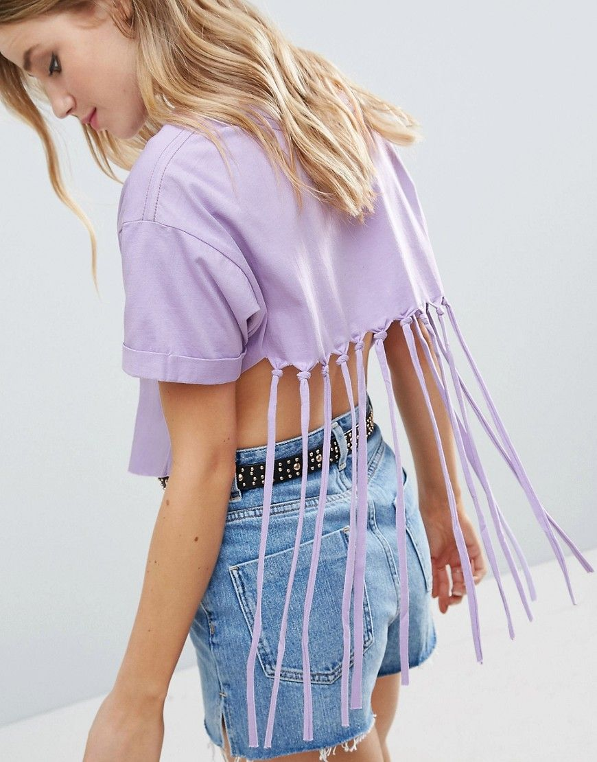 Compra Top corto de mujer color púrpura de Asos al mejor precio. Compara  precios de tops de tiendas online como Asos - Wossel España