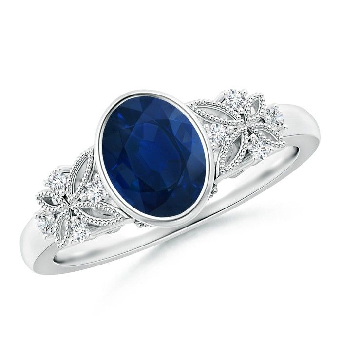 Angara Round Two Stone Blue Sapphire Ring with Bar Setting uELousP