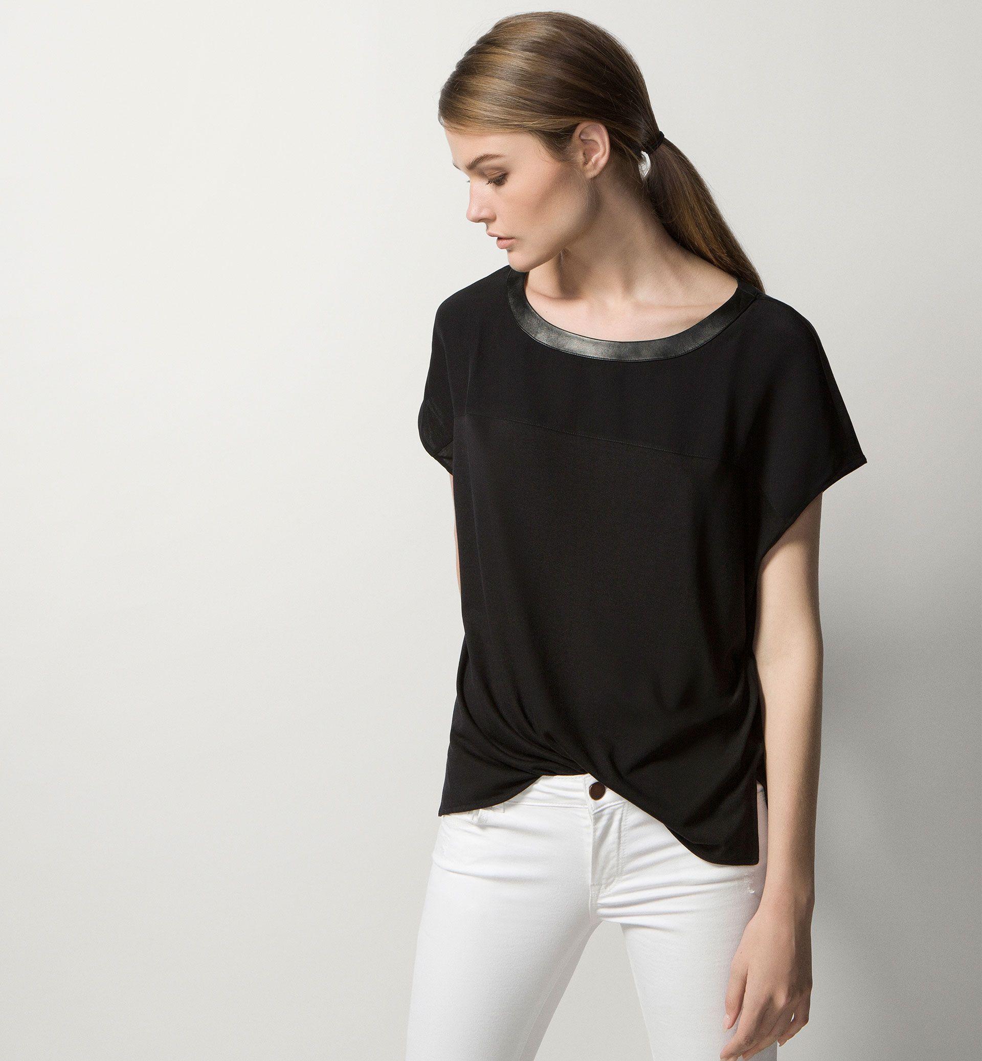 TOP WITH LEATHER NECKLINE - Business Wear - T-shirts - WOMEN - Austria -