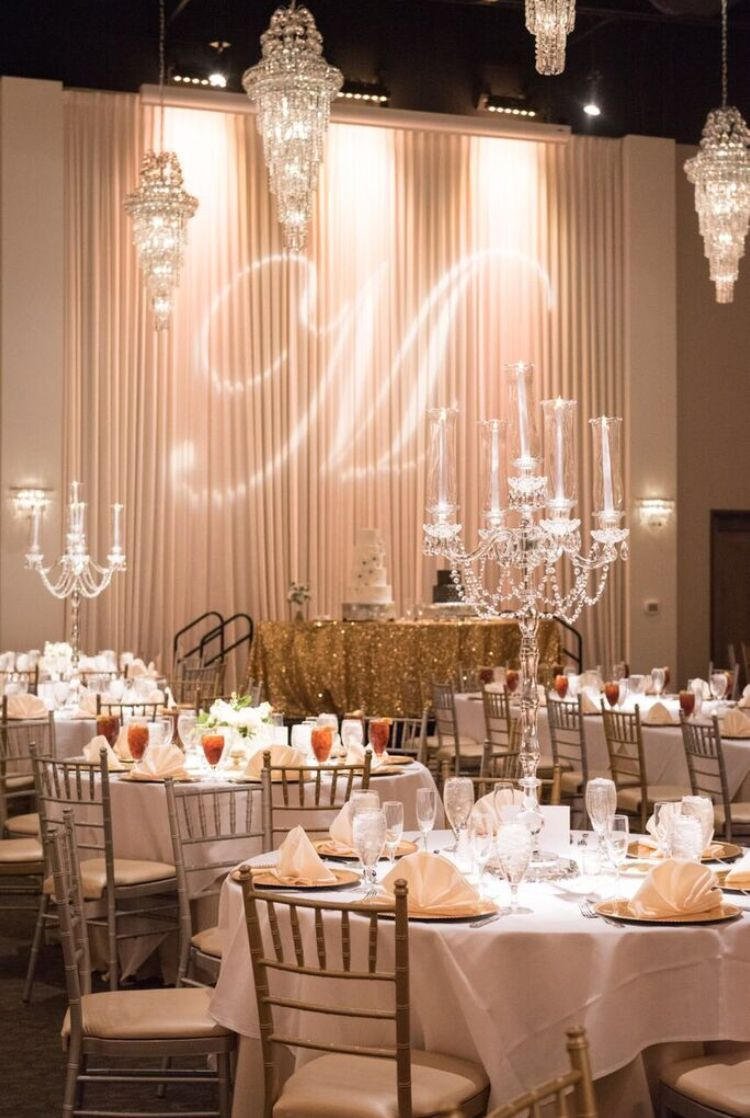 Gold Wedding Reception At Piazza On The Green Candelabra Centerpiece Gold Wedding Reception Wedding Reception Decorations
