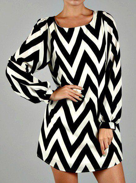 Chevron Shift Dress- Black & White