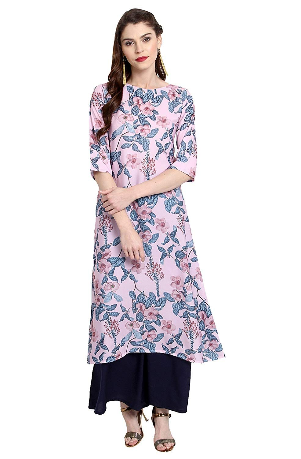 c9877add761 Janasya Women s Multicolor Crepe A-Line 3 4thth Sleeve Floral Print kurti   Amazon.in  Clothing   Accessories