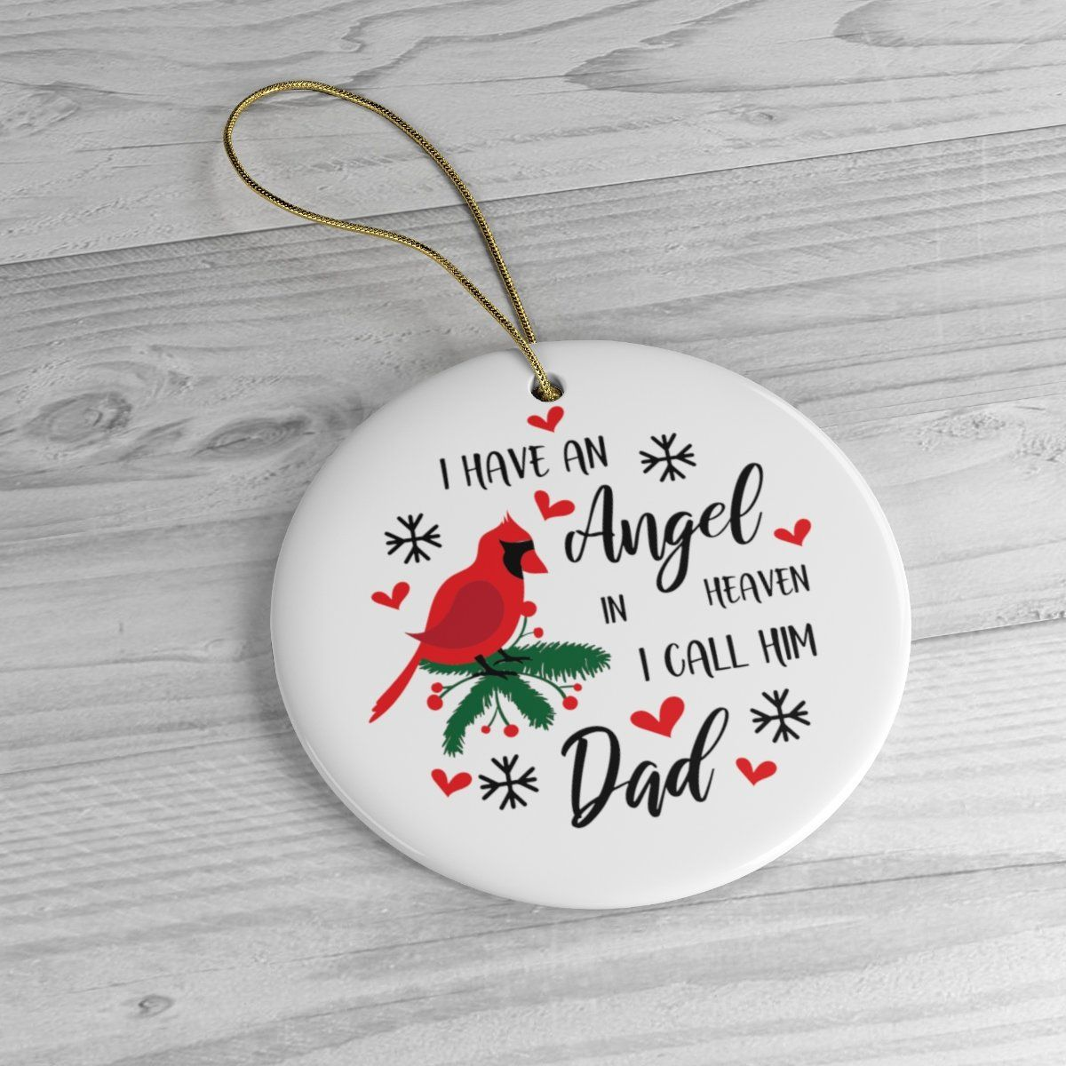 Memorial christmas tree ornament for dad with red cardinal