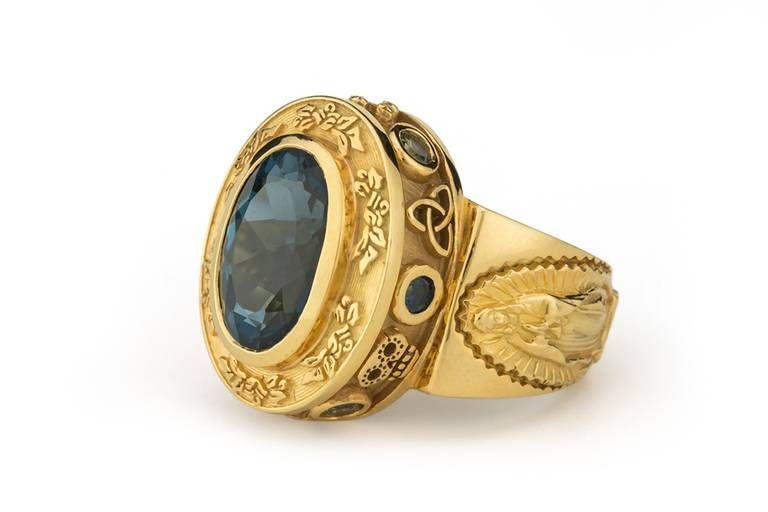 Aleluya 4.50 Carat Dark Blue Topaz Sapphire Gold Ring 2