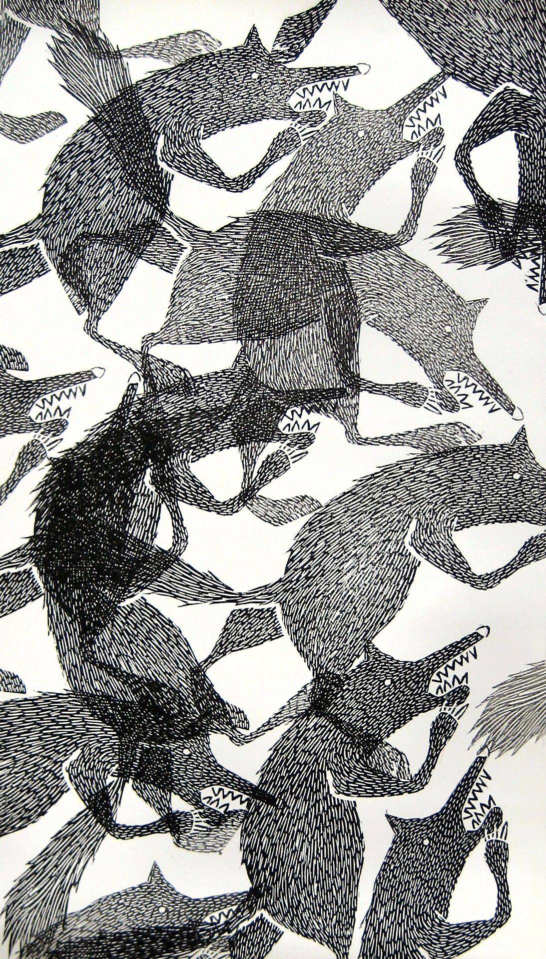 Illustrated wolf pattern // Lieke van der Vorst, Liekeland