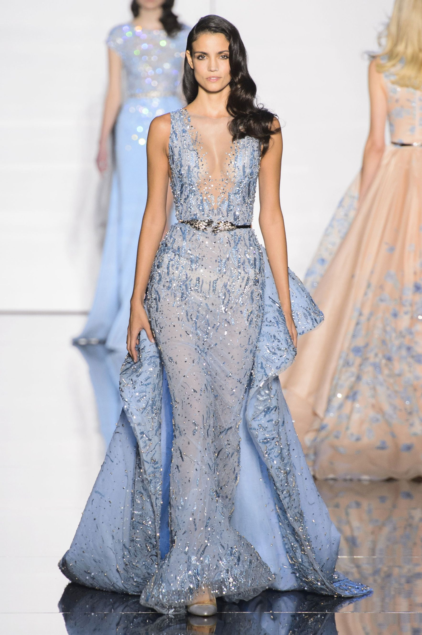 Zuhair murad spring couture skin blue beaded evening gown