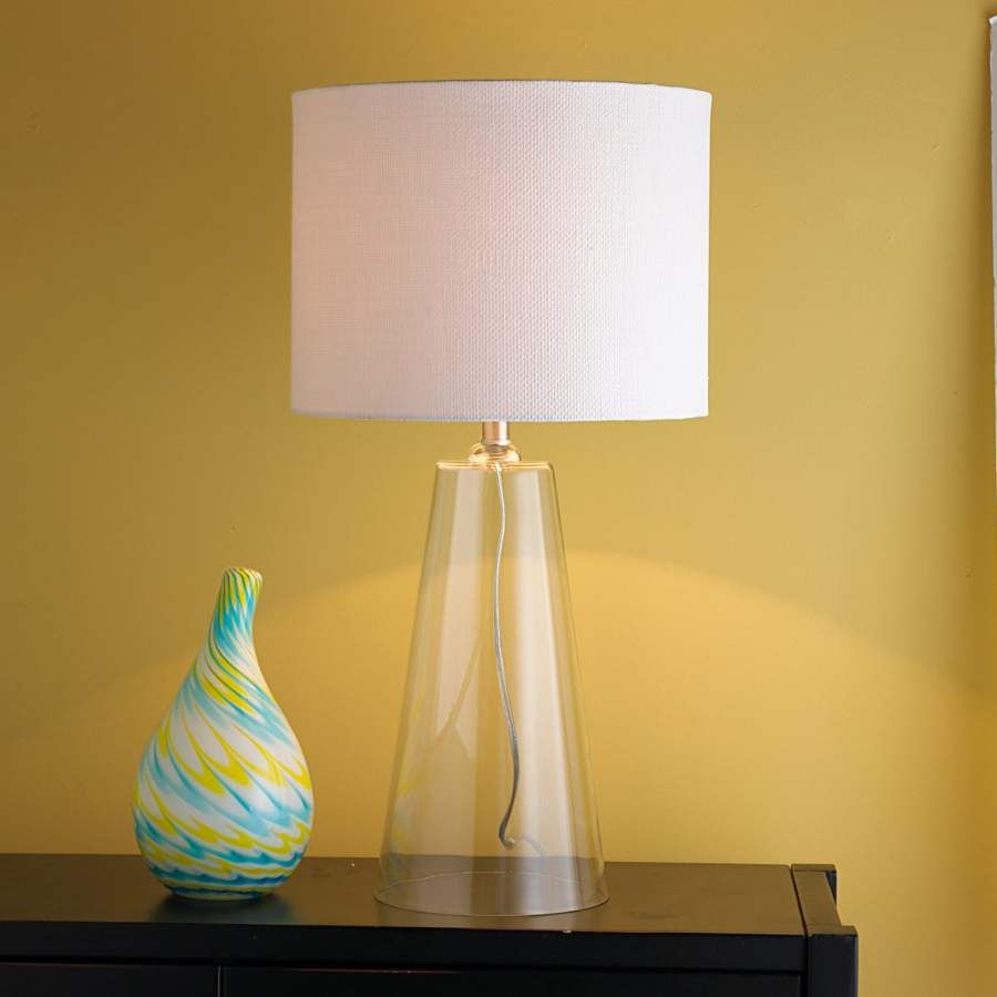 Modern Tapered Clear Gl Table Lamp Shades Of Light Ribbed With Natural Shade Primrose Plum Ball And Grey