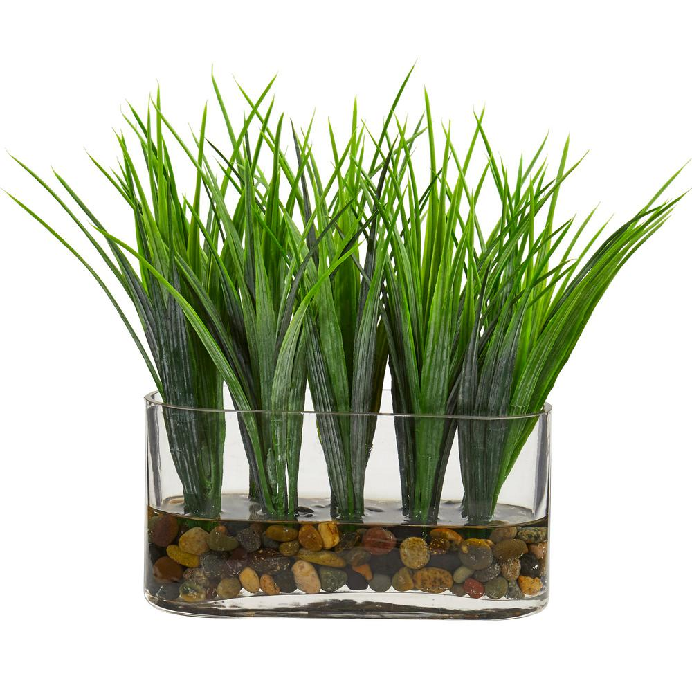 Indoor vanilla grass artificial plant in oval vase products