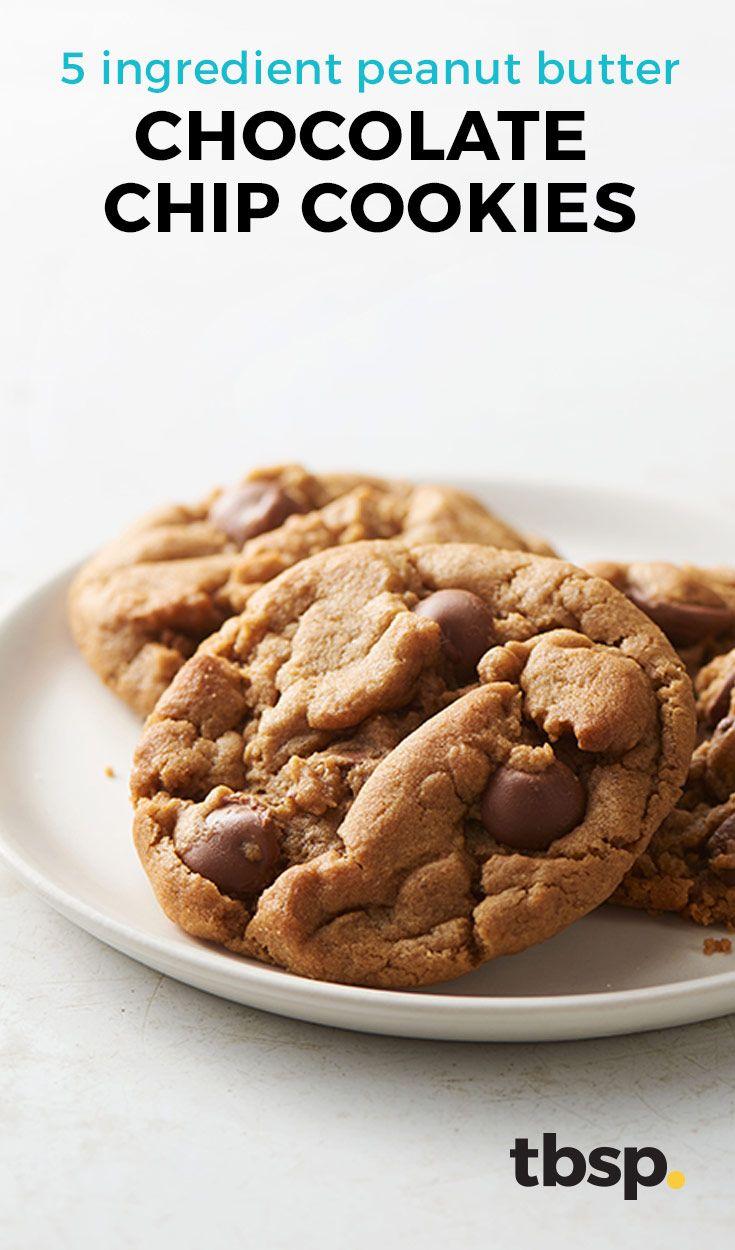 5 Ingredient Peanut Butter Chocolate Chip Cookies Recipe