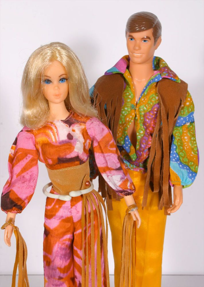 Vintage 1971 Mod Live Action Barbie \u0026 Ken Dolls W/ Original