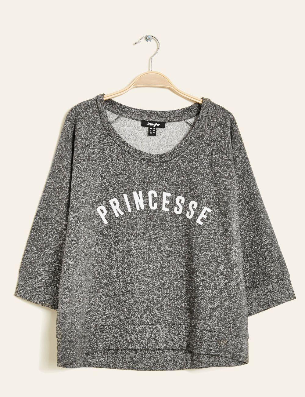 34b5ee70a78 Sweat imprimé princesse gris anthracite chiné femme • Jennyfer ...