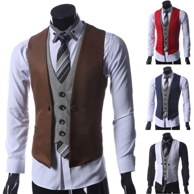 Hot Fashion Men Jacket Suit Slim Fit Vest Casual Business Formal Vest Waistcoat Casual Dress Vest Slim Fit Tuxedo Casual Vest