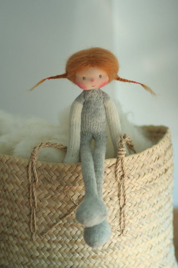 """Photo of Waldorfpuppe 14 """", Strickpuppe Ines 14"""" von Peperuda Puppen, weiche Puppe, handgemachte Puppe, Puppen, Stoffpuppe, Steiner Puppe, Kunstpuppe"""