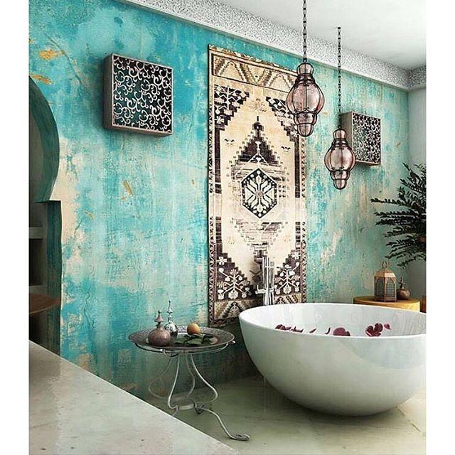 A #Moroccan Influenced ~ #BohoLuxeBathroom Via @indigosalsa