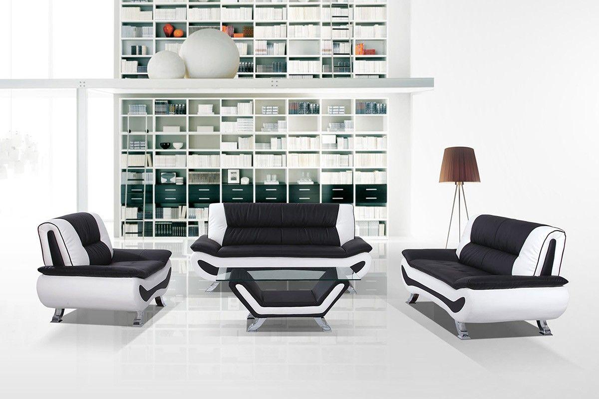 Captivating 3032C Modern Black And White Sofa Set