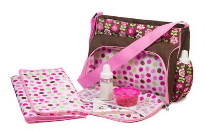 Diaper Bag Messenger Baby Girl Pink & Brown Flowers Changing Pad Adjust Strap   @ beachcats bargains    http://stores.ebay.com/beachcats-bargains