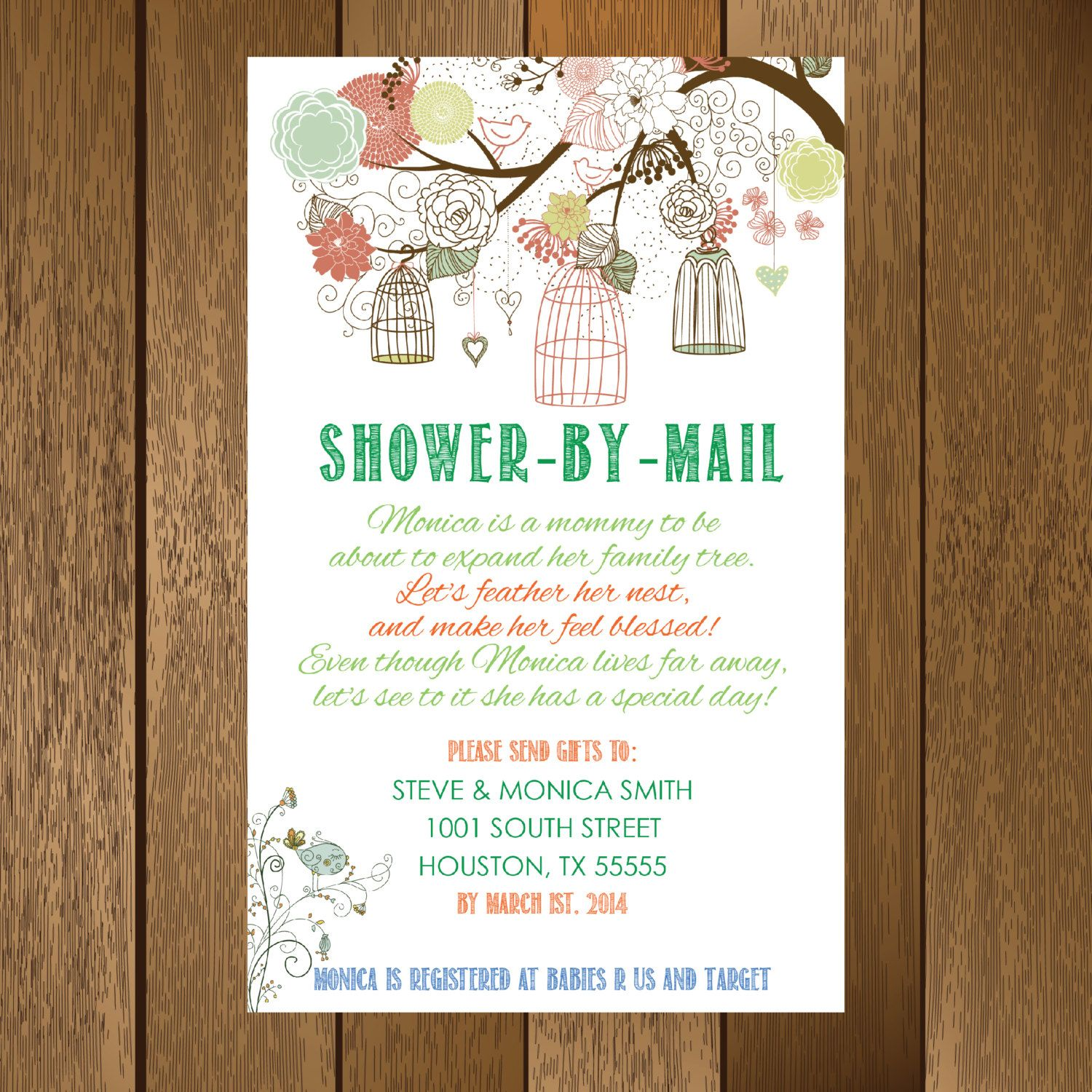 Rustic Shower by Mail Baby Shower Invitation, Printable | Rustic ...