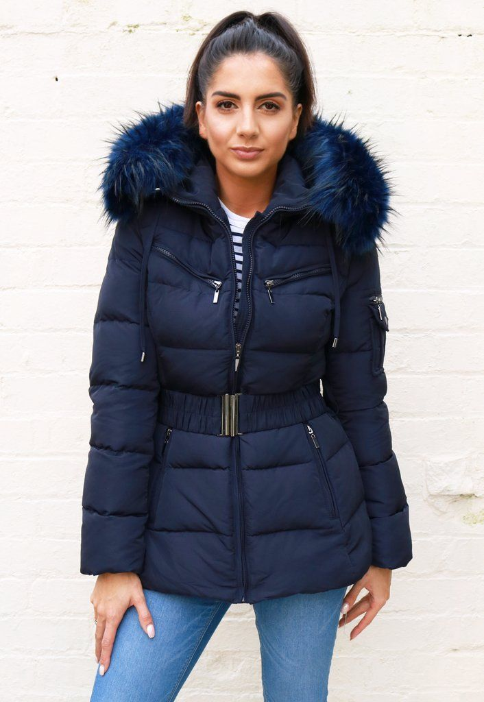 253c021b Harper Quilted Longline Hooded Puffer Coat with Faux Fur Trim & Belt in  Navy Blue