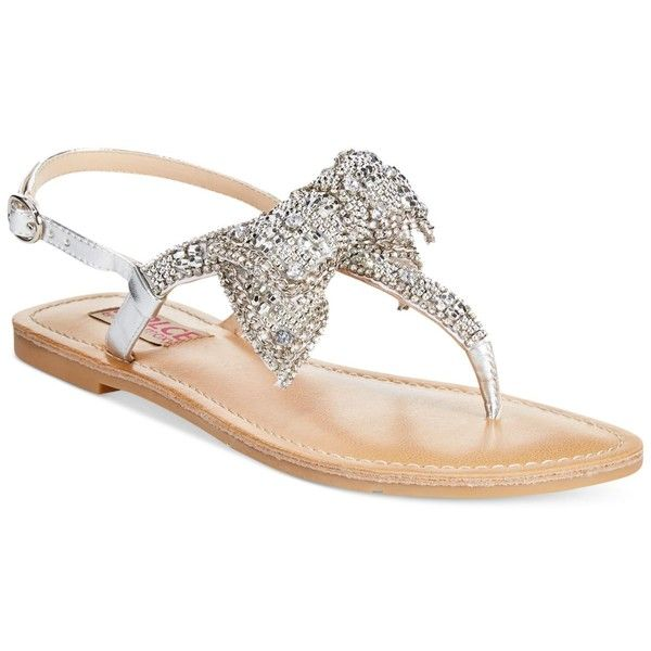 0676657b9eef1 Dolce by Mojo Moxy Sienna Rhinestone Bow Flat Thong Sandals ( 49) ❤ liked  on Polyvore featuring shoes
