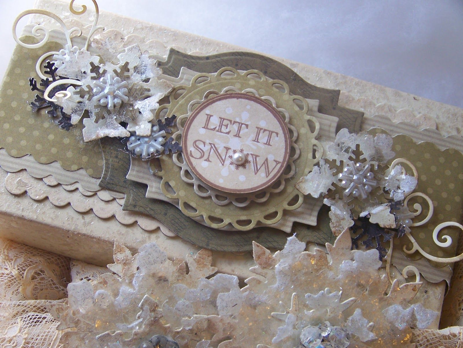 Tattered Treasures: Altered Box and 'Iced Snowflake' Christmas Ornaments