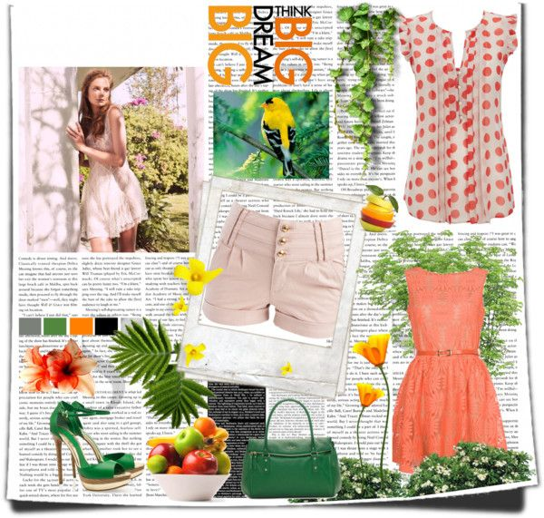 """""""Oranges and greens"""" by pauline-eskett on Polyvore"""