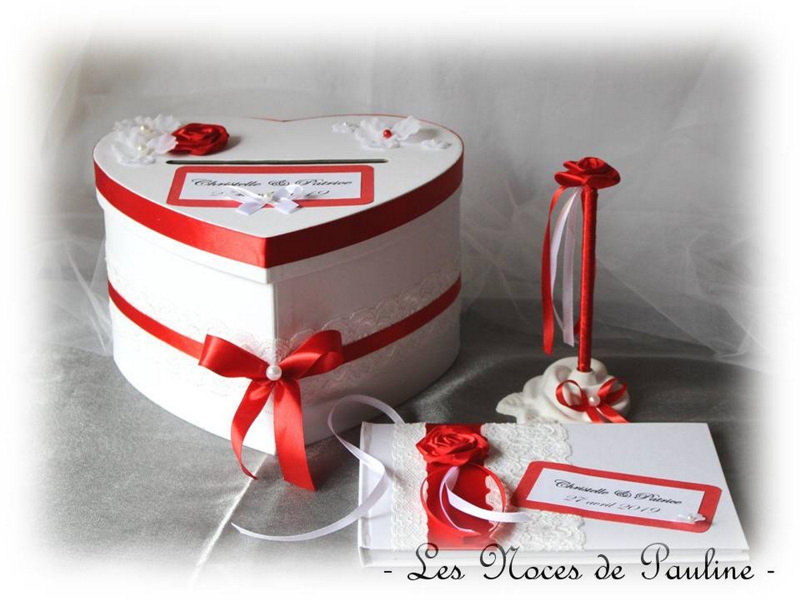 Ensemble Livre D Or Urne Et Stylo Mariage Rouge Et Blanc