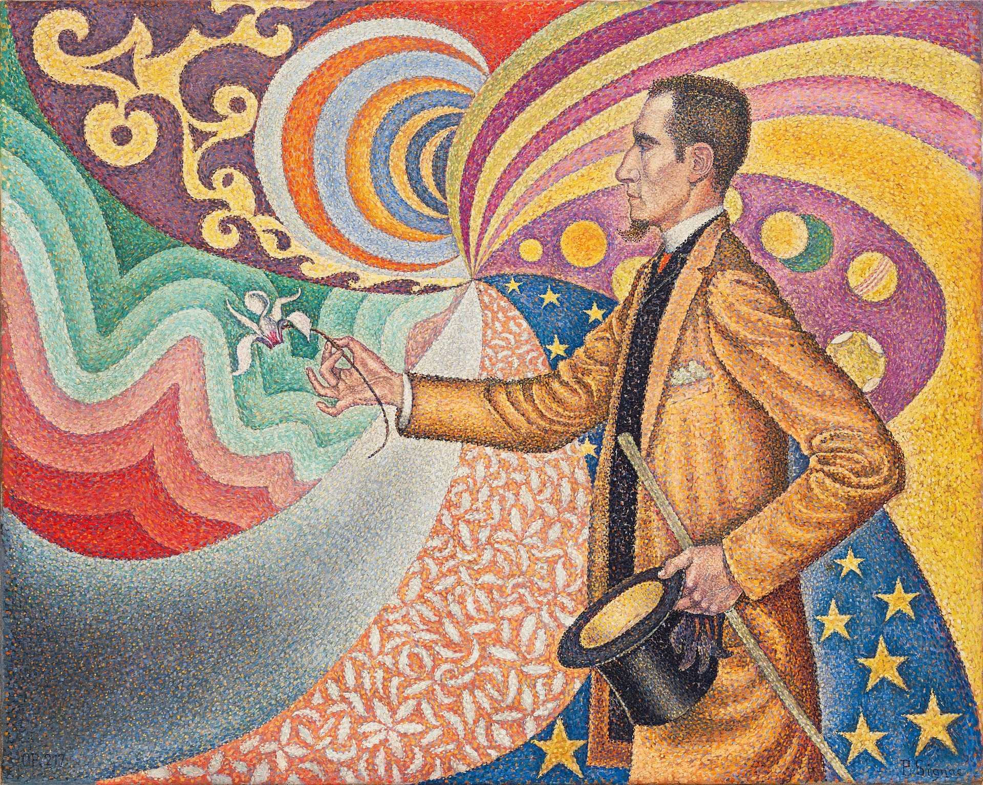 Opus 217. Against the Enamel of a Background Rhythmic with Beats and Angles, Tones, and Tints, Portrait of M. Félix Fénéon in 1890 by Paul Signac, 1890