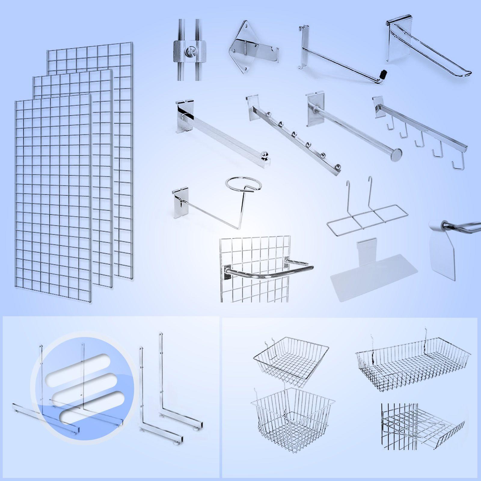 Details About Grid Wall Gridwall Mesh Chrome Retail Shop