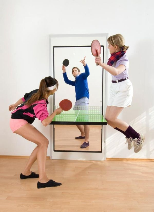 Table Tennis Room Design: Fold Out Ping Pong Door In 2020