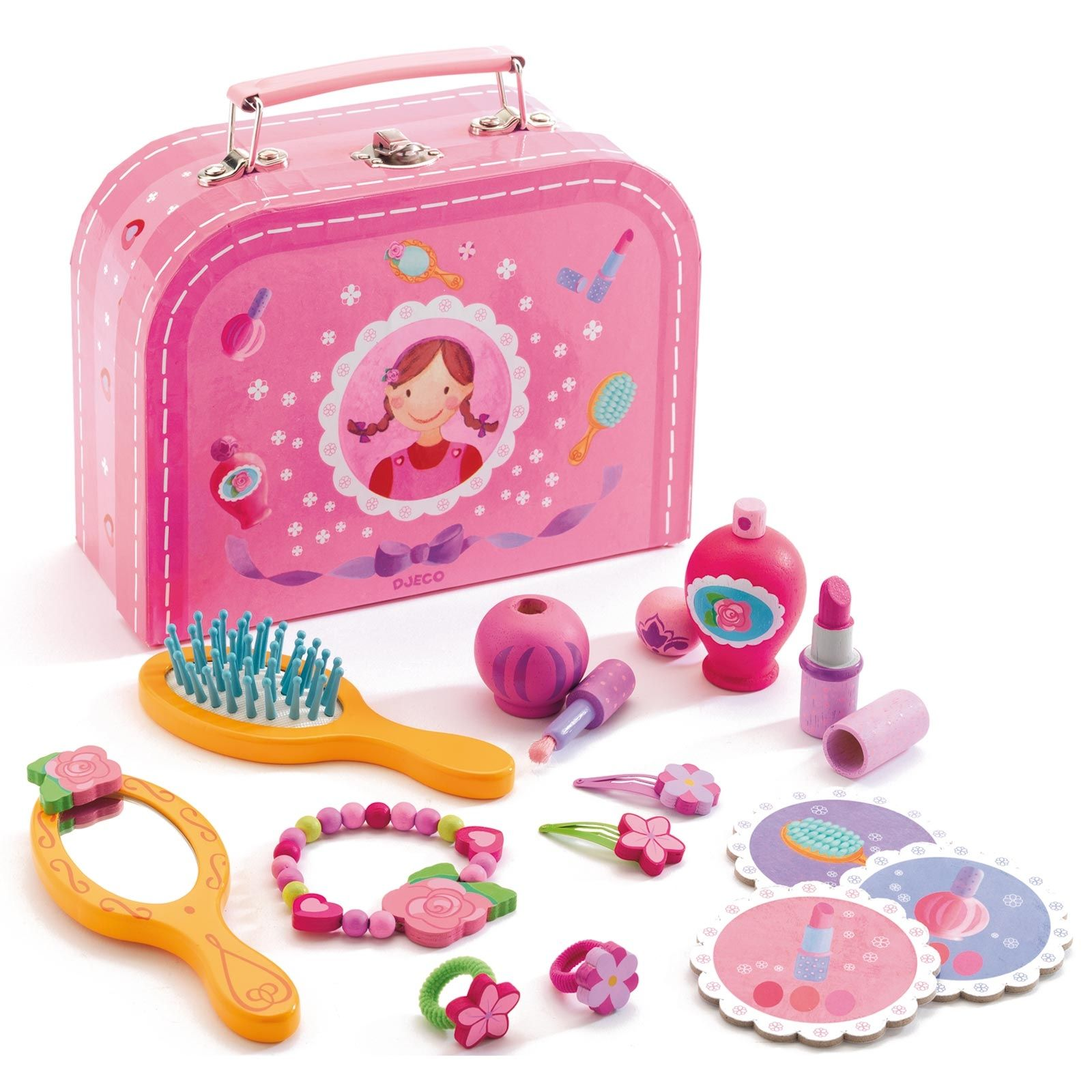 un vanity par djeco pour que les petites filles coquettes aient tout le necessaire pour se faire jolie